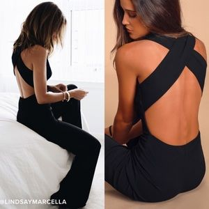 NWOT LULU'S THINKING OUT LOUD BACKLESS JUMPSUIT-XS